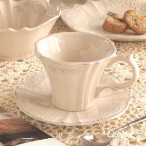 カップ&ソーサー レリーフ アンティーク調 クラッシックスタイル カフェ風食器 オートミール|comfy-shop