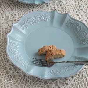 カフェ風食器 クラッシックスタイル レリーフ プレート ブルー L アンティーク調 comfy-shop