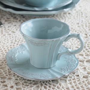 カップ&ソーサー レリーフ アンティーク調 クラッシックスタイル カフェ風食器 ブルー|comfy-shop