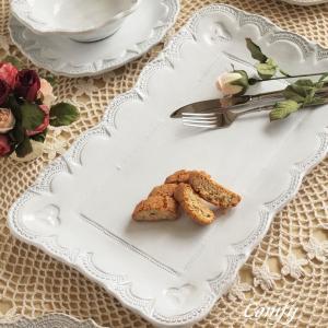 プレート 皿 イタリア食器 ラ・セラミカ フラワー レクト プレート ホワイト アンティーク調|comfy-shop