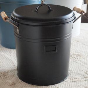 ゴミ箱 ナチュラル雑貨 インテリア雑貨 スティール フタつきダストビン ブラック バケツ ゴミ箱|comfy-shop