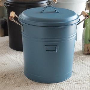 ゴミ箱 ナチュラル雑貨 インテリア雑貨 スティール フタつきダストビン ブルー バケツ ゴミ箱|comfy-shop