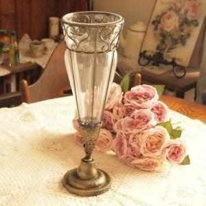 ガラス 花瓶 アンティーク調 フラワーベース インテリア雑貨 コウンS ゴールド|comfy-shop