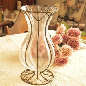 ガラス 花瓶 アンティーク調 フラワーベース インテリア雑貨 マーヴェル ゴールド|comfy-shop