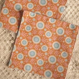 キッチン雑貨 サークルオレンジ コースター ハンドメイド 2枚組|comfy-shop