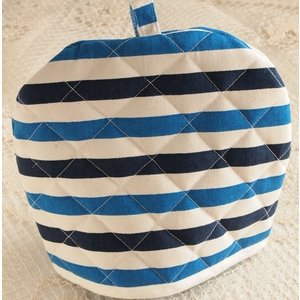 ティーコジー ポットカバー ストライプ ブルー&ネイビー ハンドメイド雑貨|comfy-shop