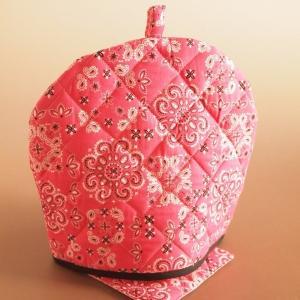 ティーコジー ポットカバー&マット バンダナ ピンク ハンドメイド雑貨|comfy-shop