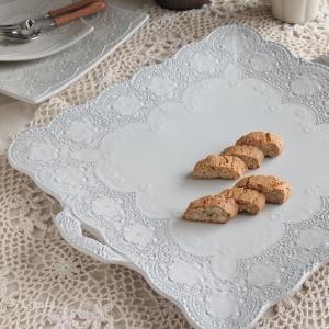イタリア 食器 ラ・セラミカ レース ハンドル レクト プレート 皿 クリーム アンティーク調 comfy-shop