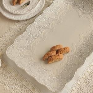 プレート 皿 イタリア食器 ラ・セラミカ レース レクト プレート クリーム アンティーク調|comfy-shop