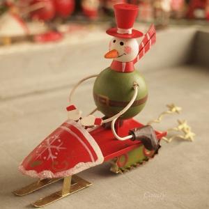 ブリキ 卓上 クリスマス オーナメント ソリ スノーマン|comfy-shop