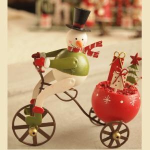 ブリキ 卓上 クリスマス オーナメント 自転車スノーマン|comfy-shop