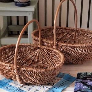 雑貨 かわいい ナチュラル素材 ピクニックバスケット 2点セット カントリー雑貨|comfy-shop