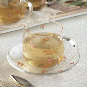 ガラス食器 カップ&ソーサー 耐熱ガラス プチローズ|comfy-shop