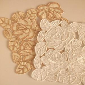 バラのコード刺繍&カットワーク コースター 11cm comfy-shop