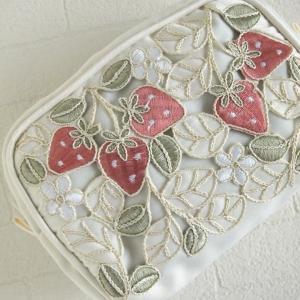 マルチケース ポーチ ジップポーチ おしゃれ レディース 高級コード刺繍コインケース いちご ストロベリー|comfy-shop