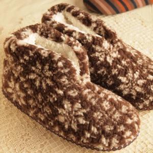 防寒対策 ふわふわもこもこ ルームシューズ ブラウン ノルディック ハイカット 室内履き|comfy-shop