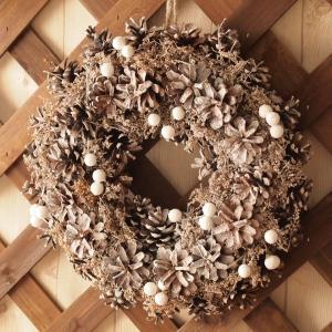インテリア雑貨 クリスマス ホワイトシルバーコーンリース |comfy-shop
