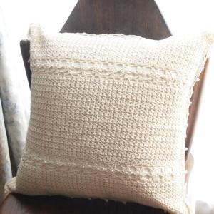 アンティークレース風 カントリー雑貨 手編みレース クッションカバー ナチュラルパールクロッシェ ベージュ comfy-shop