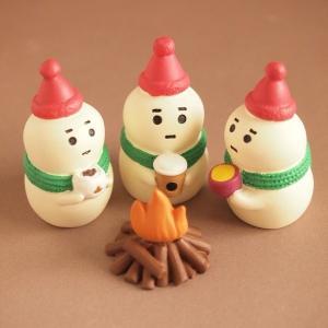 デコレ コンコンブル まったりマスコット クリスマス雑貨 雪だるま3人セット 焚き火付き|comfy-shop