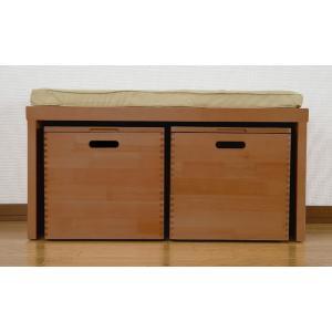 天然木 ベンチチェスト クッション付き 収納ベンチ 木製 幅80cm キャスター付き 収納ボックス いす イス スツールボックス commitand