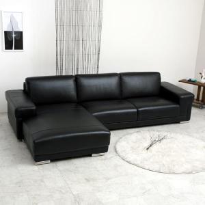 コーナーソファーadagio L型カウチソファL字型 本革ローソファ本皮 北欧モダン ブラック黒|commode-house