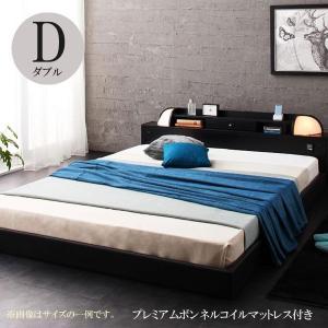 ベッド ダブル ダブルベッド ダブルベッド ローベッド マットレス付き ベッド プレミアムボンネルコイルマットレス付き|comodocrea