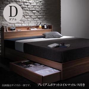 ベッド 収納付き ダブルベッド ダブルベッド マットレス付き ベッド プレミアムポケットコイルマットレス付き|comodocrea