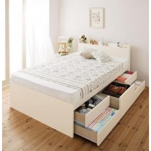 セミシングルベッド 日本製 棚 コンセント付き大容量すのこチェストベッド 薄型スタンダードボンネルコイルマットレス付き セミシングル|comodocrea