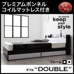 収納付きベッド 収納付きベッド 収納付きベッド ダブル マットレス付き ベッド プレミアムボンネルコイルマットレス付き|comodocrea
