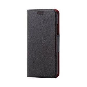 エレコム iPhone X/ソフトレザーカバー/薄型/磁石/イタリアンCoronet/ブラック メーカー在庫品[メール便対象商品]|compmoto-y