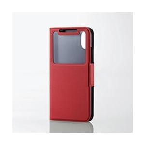 エレコム iPhone X ソフトレザーカバー 薄型窓付 磁石付レッド PM-A17XPLFWTRD 目安在庫=△|compmoto-y