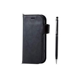 エレコム らくらくスマートフォンme ソフトレザーカバー タッチペン ブラック 目安在庫=△|compmoto