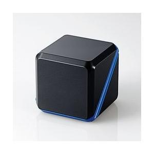 エレコム 3.5φスピーカ/キューブ/アンプ内蔵/300mW×2/電池/ブルー×ブラック メーカー在庫品|compmoto