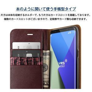Galaxy S8 Plus ケース 手帳型 本革 ハンドメイド 高級 レザー ベルトなし マグネット なし 薄型 スリム 手帳 カバー ギャラクシーS8プラス VRS Genuine Leather|comwap|04
