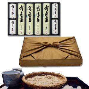 (風呂敷包み)翁 達磨そば(蕎麦)・つゆセット(8食セット)   通常、1〜4日程度で発送