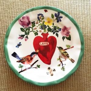 アンソロポロジー Anthropologie ナタリーレテ ディナープレート 小鳥&ハート 絵皿 大皿 盛り皿 陶器製 conceptstore