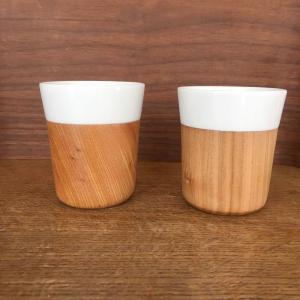 木と陶器のマグカップ 木影 ぬくもりのある木のコップー 欅/山桜 北欧インテリア ナチュラルデザイン 木の食器|conceptstore