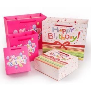 バースデー ギフトバッグ 3枚セット メッセージカード付 誕生日 紙袋 年に一度のお祝いに confianceshop