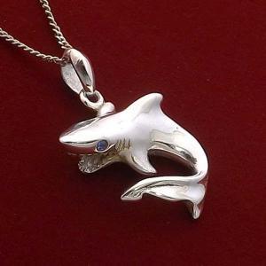 シャーク サメ 鮫 ブルーストーン ハワイアンジュエリー ネックレス チェーン メンズ レディース シルバー925 シンプル ブランド おすすめ 人気 送料無料|coniglio