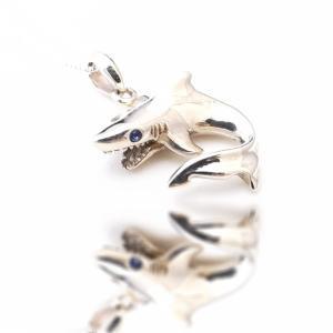 シャーク サメ 鮫 ブルーストーン ハワイアンジュエリー ネックレス 喜平 チェーン シルバー925  送料無料|coniglio