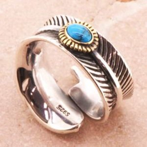 フェザー ターコイズ シルバーリング リング 指輪 サイズ 人気 おすすめ ブランド プレゼント シンプル メンズ レディース 送料無料 coniglio