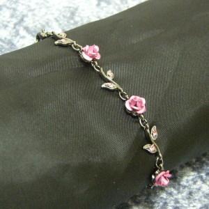 レディースブレスレット 薔薇 ピンク ブラックブレスレット レディース 彼女 女性用 coniglio