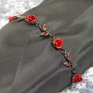 レディースブレスレット 薔薇 レッド ブラックブレスレット レディース 彼女 女性用 coniglio