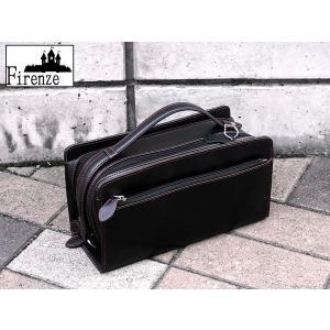 フィレンツェ FIRENZE 本馬革 セカンドバッグ 072147 黒×赤ステッチ|connection-s