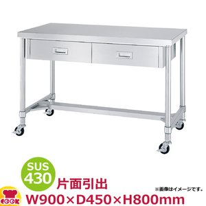 <title>オンラインショッピング シンコー作業台 キャスター SUS430 WDHC-9045 引出2H枠 900×450×800 送料無料 代引不可</title>