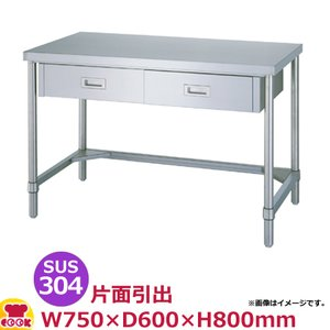 <title>シンコー 作業台 SUS304 WDTN-7560 片面引出1個 三方枠 750×600×800 送料無料 販売期間 限定のお得なタイムセール 代引不可</title>