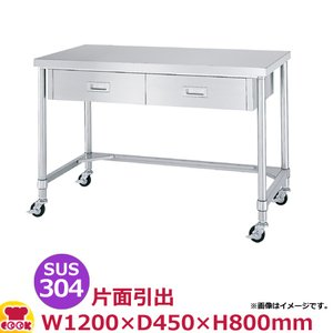 <title>シンコー 作業台 SUS304 WDTNC-12045 お中元 片面引出2個 三方枠1200×450×800 送料無料 代引不可</title>