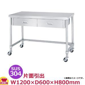 <title>シンコー 作業台 SUS304 WDTNC-12060 片面引出2個 三方枠1200×600×800 送料無料 メーカー再生品 代引不可</title>
