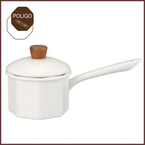 富士ホーロー ポリゴ 13cm 1.0L ミルクパン ホワイト・ブラウン・ピンク 片手鍋/ホーロー鍋|cooking-clocca