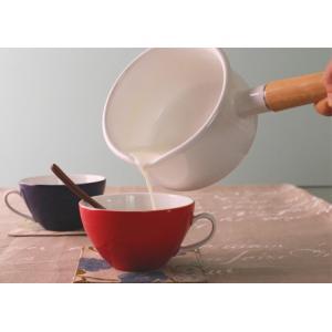 富士ホーロー IH対応 ミルクパン 15cm フタ付き レッド・ホワイト 片手鍋 C-15M|cooking-clocca|04
